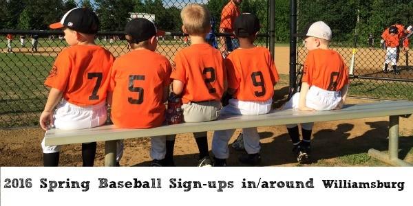 2016 Spring Baseball League Sign-Ups in Williamsburg