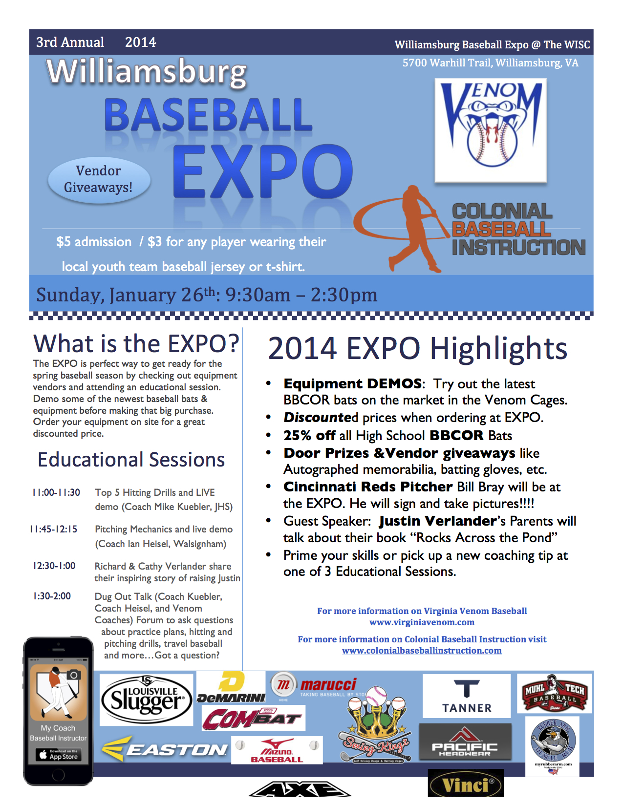 Williamsburg Baseball EXPO Flyer 2014-3