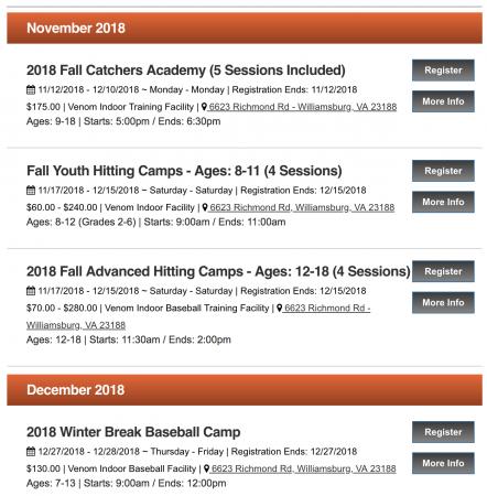 baseball camps schedule virginia