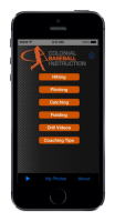 My Coach Baseball App Home Screen
