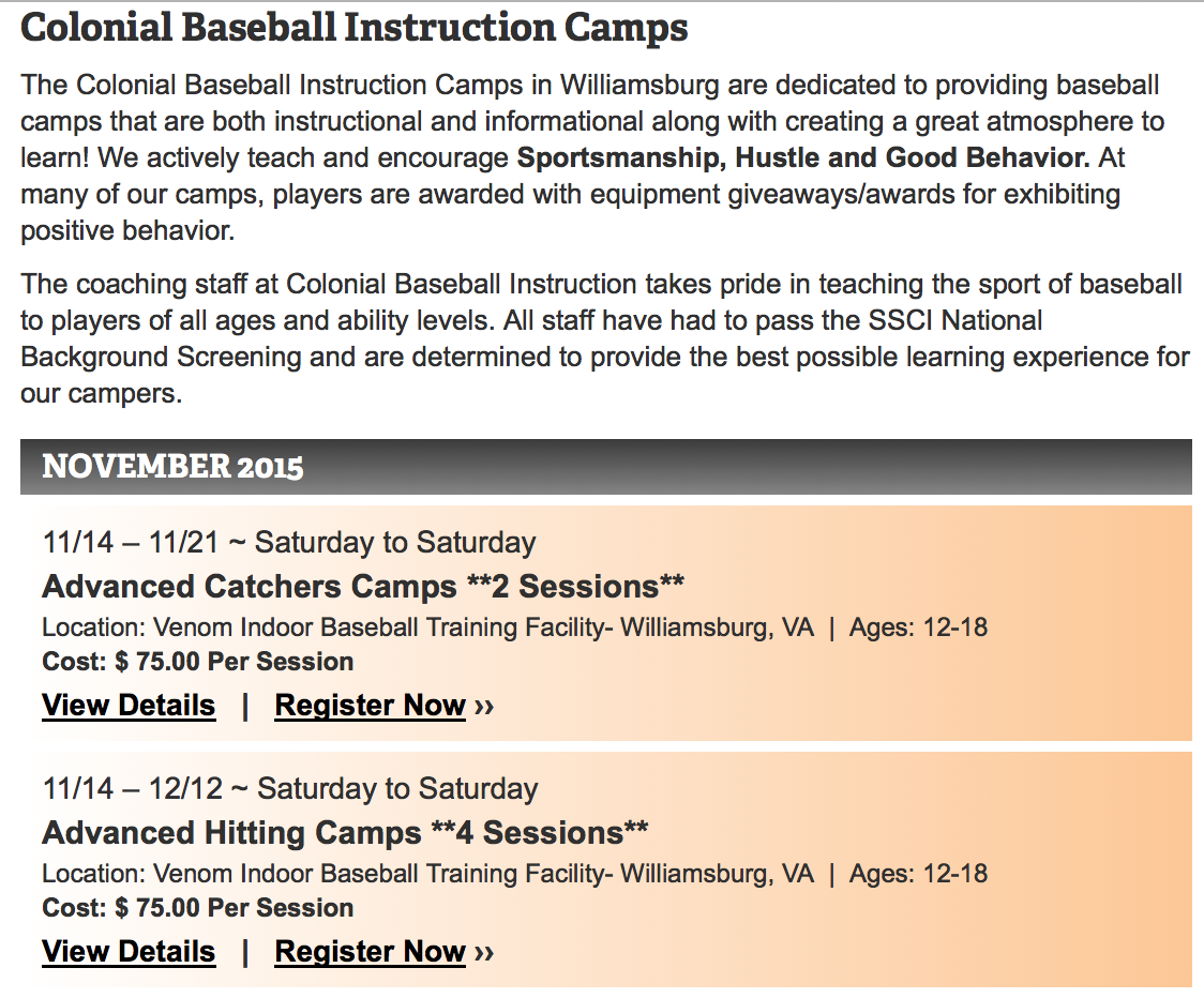 November December indoor camps